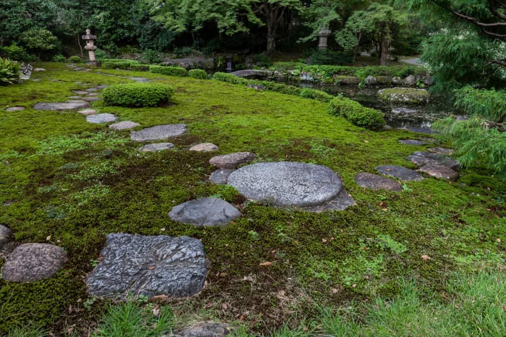 ścieżka w ogrodzie z kamienia